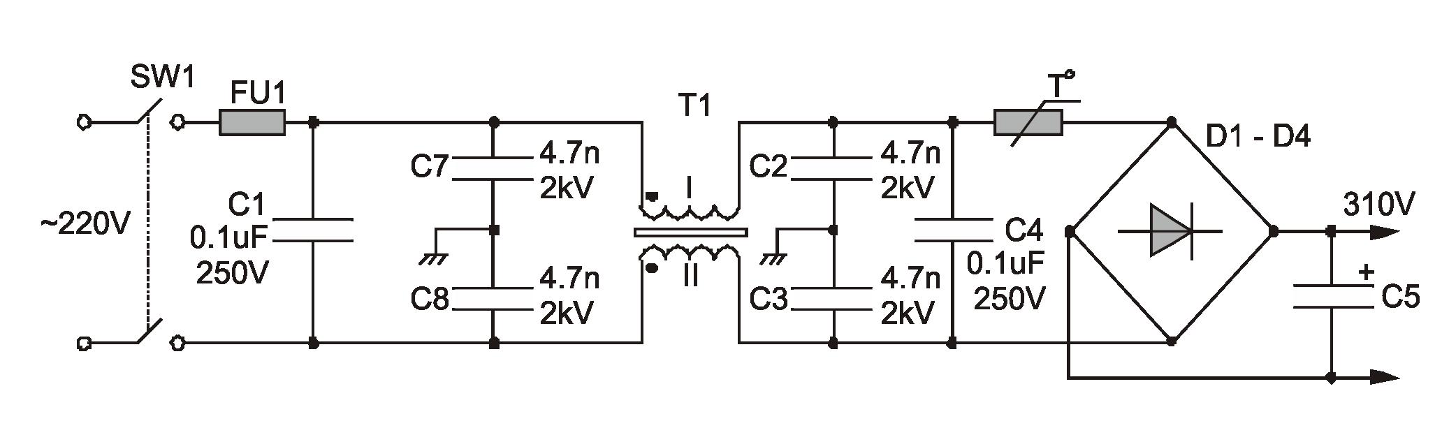 Сетевой фильтр от импульсных помех